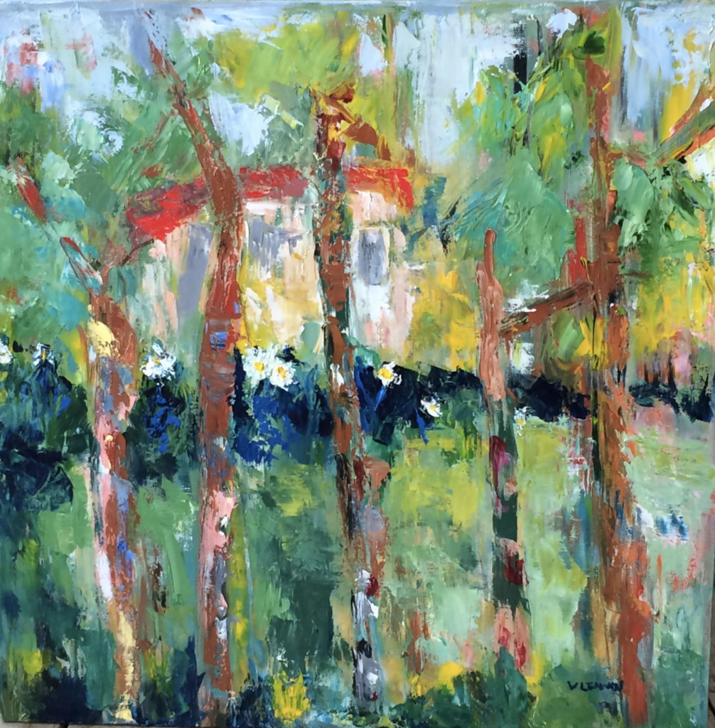 """House in the Woods <br /> 24"""" x 24""""  <br /> Mixed Media on Canvas, Gallery Wrapped<br /> $1,800 <br /> <a href=""""/contact-purchase/?paintid=House in the Woods"""">Purchase</a>"""