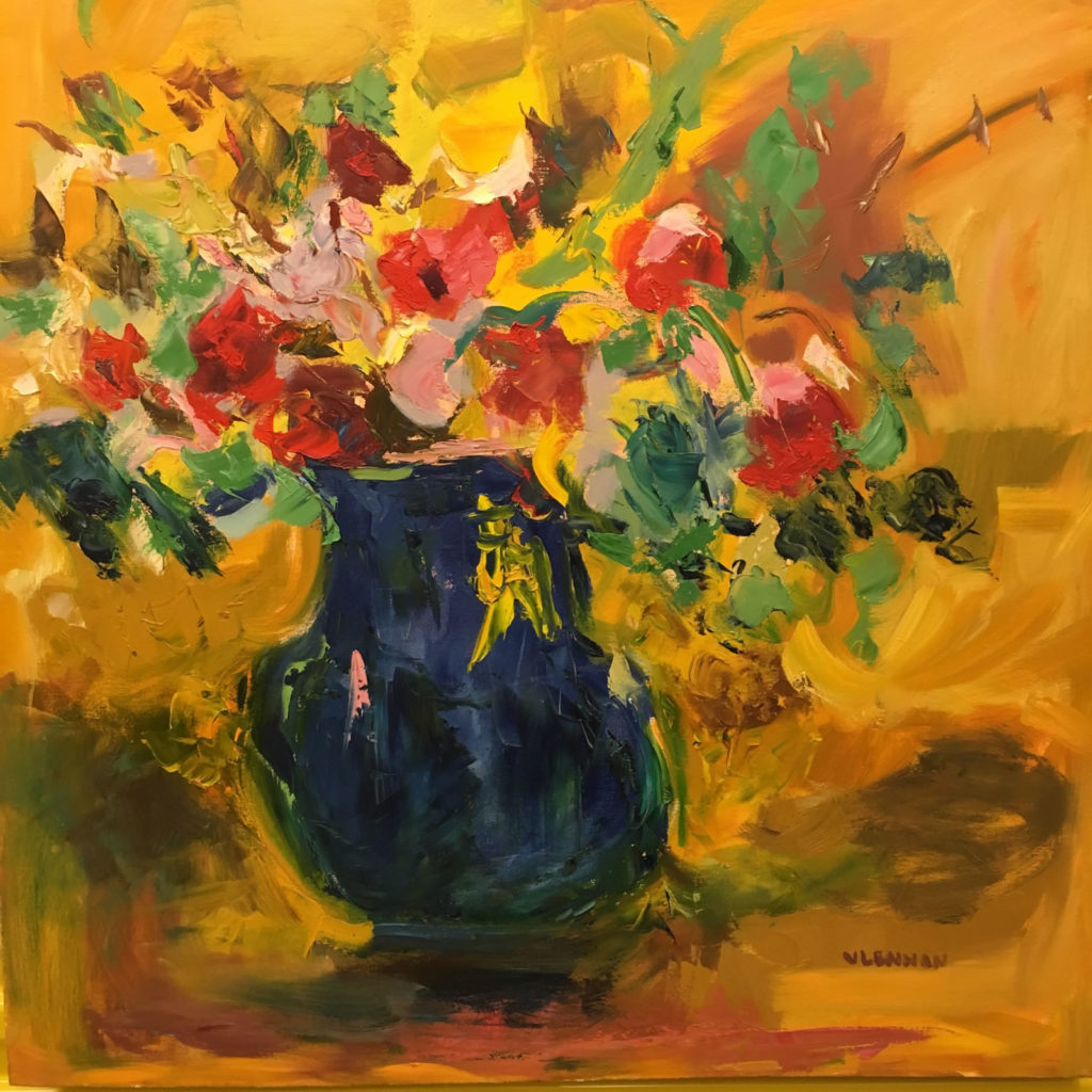 """Blooming <br /> 36"""" x 36""""  <br /> Mixed Media on Canvas, Gallery Wrapped <br /> $2,200 <br /> <a href=""""/contact-purchase/?paintid=Blooming"""">Purchase</a>"""