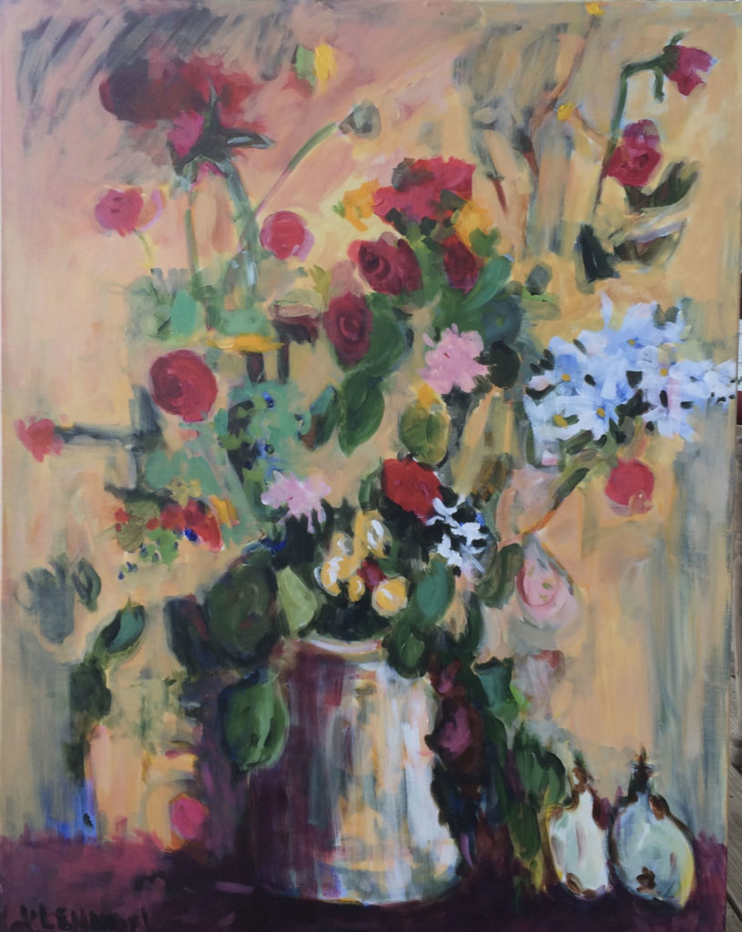 """Roses Are Red <br /> 30"""" x 40""""  <br /> Mixed Media on Canvas, Gallery Wrapped <br /> $2,100 <br /> <a href=""""/contact-purchase/?paintid=Roses Are Red"""">Purchase</a>"""