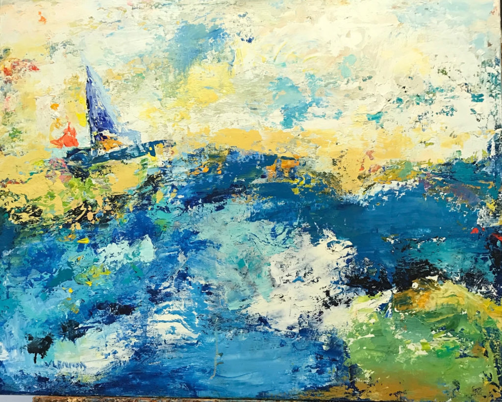 """Sail Away <br /> 30"""" x 24""""  <br /> Mixed Media on Canvas, Gallery Wrapped <br /> $2,400 <br /> <a href=""""/contact-purchase/?paintid=Sail Away"""">Purchase</a>"""