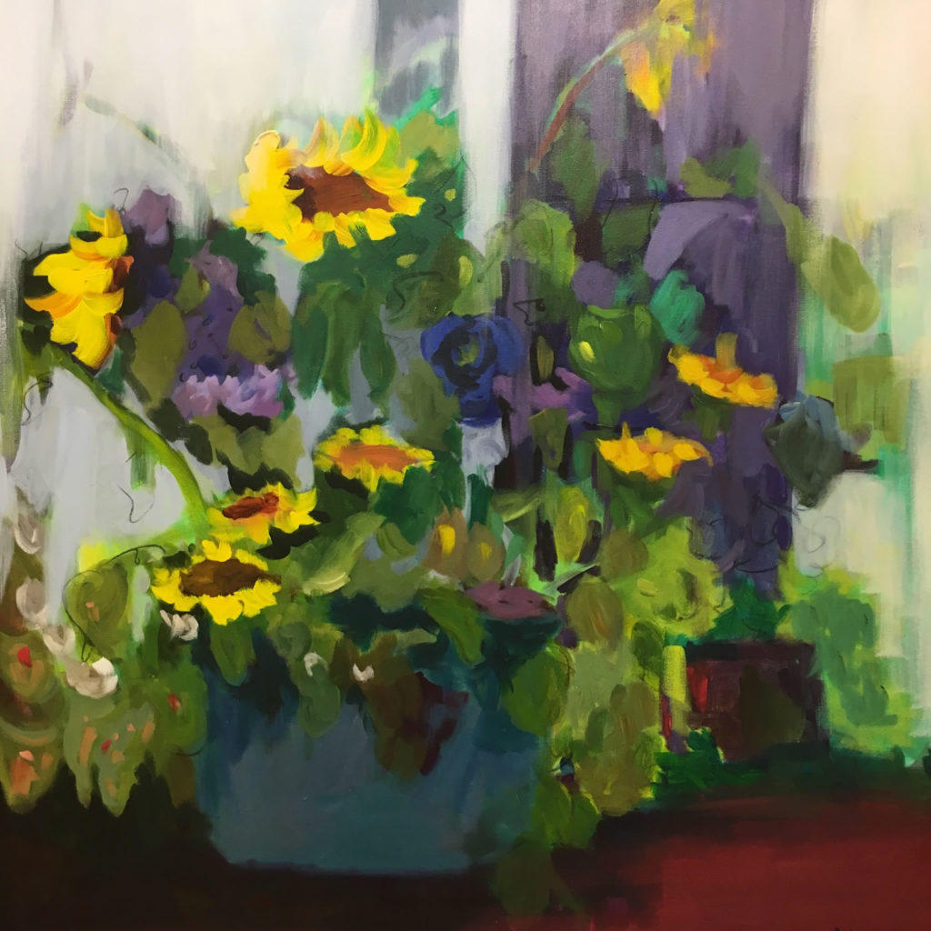 """Simply Sunflowers <br /> 36"""" x 36""""  <br /> Mixed Media on Canvas, Gallery Wrapped <br /> $2,100 <br /> <a href=""""/contact-purchase/?paintid=Simply Sunflowers"""">Purchase</a>"""