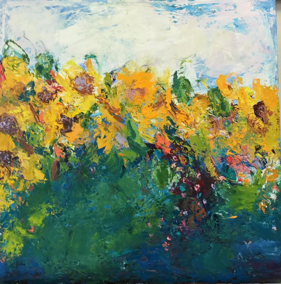 """Sunflowers <br /> 24"""" x 24""""  <br /> Mixed Media on Canvas, Gallery Wrapped <br /> $1,800 <br /> <a href=""""/contact-purchase/?paintid=Sunflowers"""">Purchase</a>"""