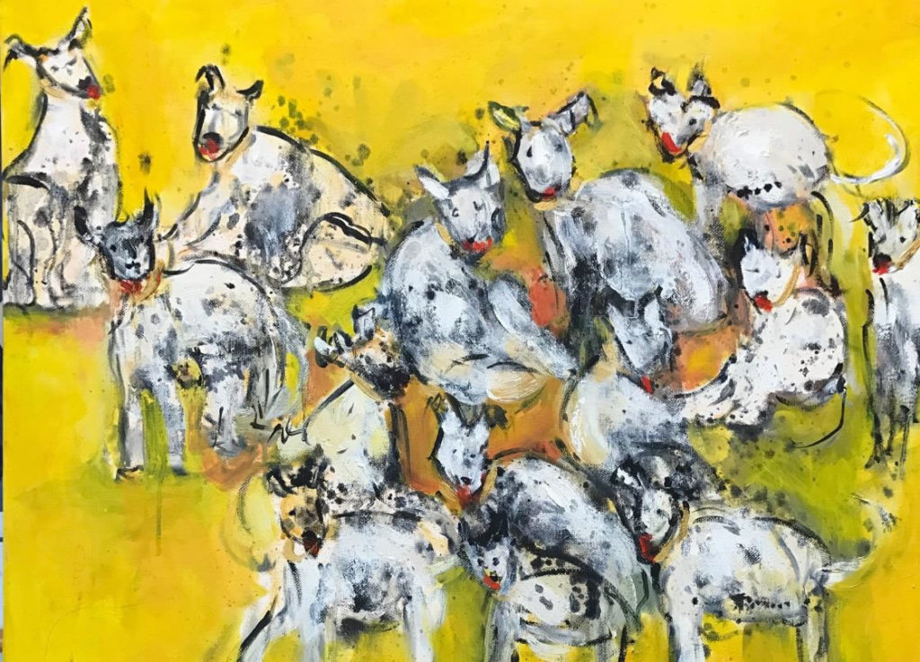 "Who Let the Dogs Out <br /> 18"" x 24""  <br /> Mixed Media on Canvas, Gallery Wrapped <br /> $1,200 <br /> <a href=""/contact-purchase/?paintid=Who Let the Dogs Out"">Purchase</a>"