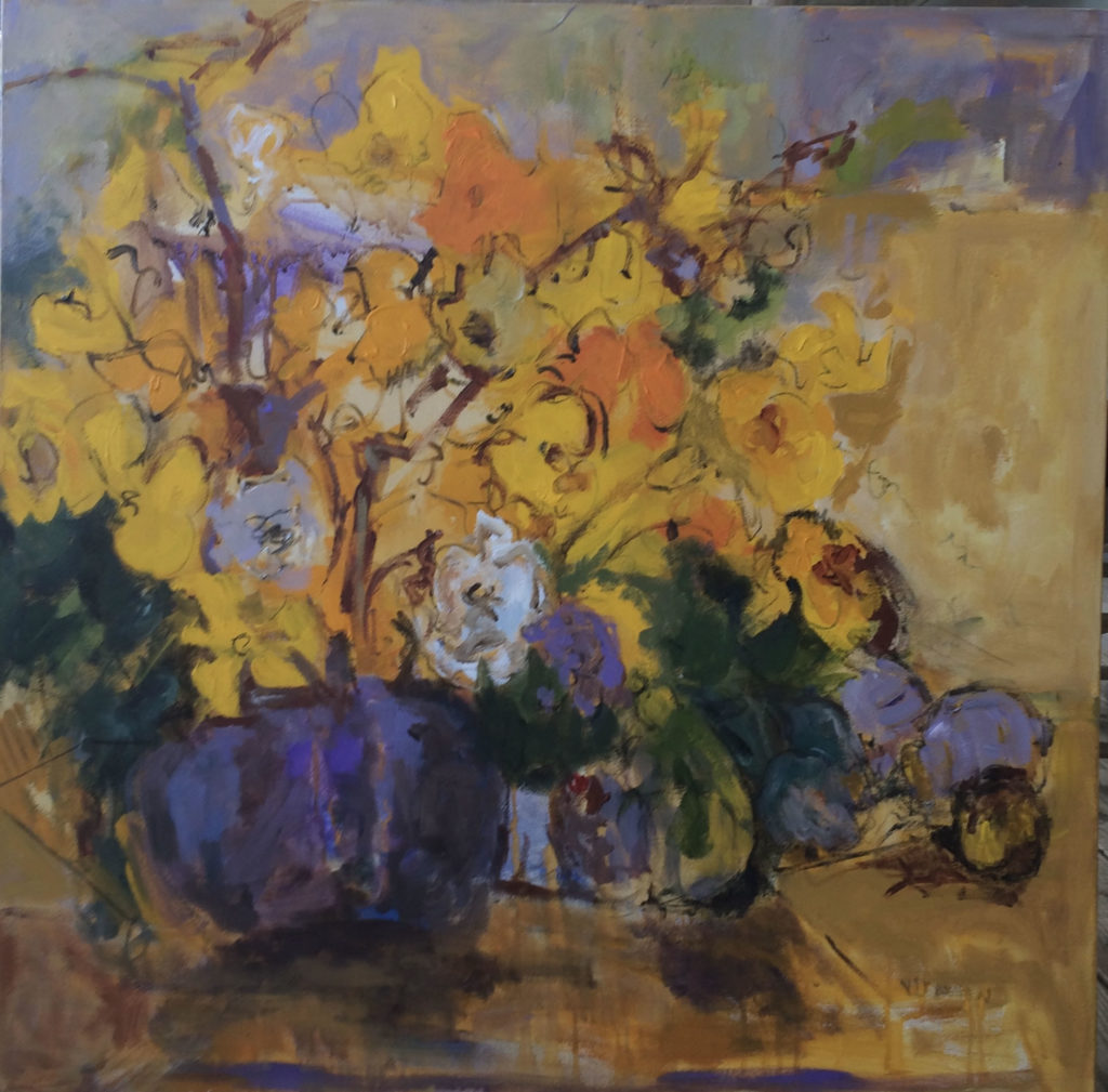 """Yellow Flowers <br /> 36"""" x 36""""  <br /> Mixed Media on Canvas, Gallery Wrapped <br /> $2,100 <br /> <a href=""""/contact-purchase/?paintid=Yellow Flowers"""">Purchase</a>"""