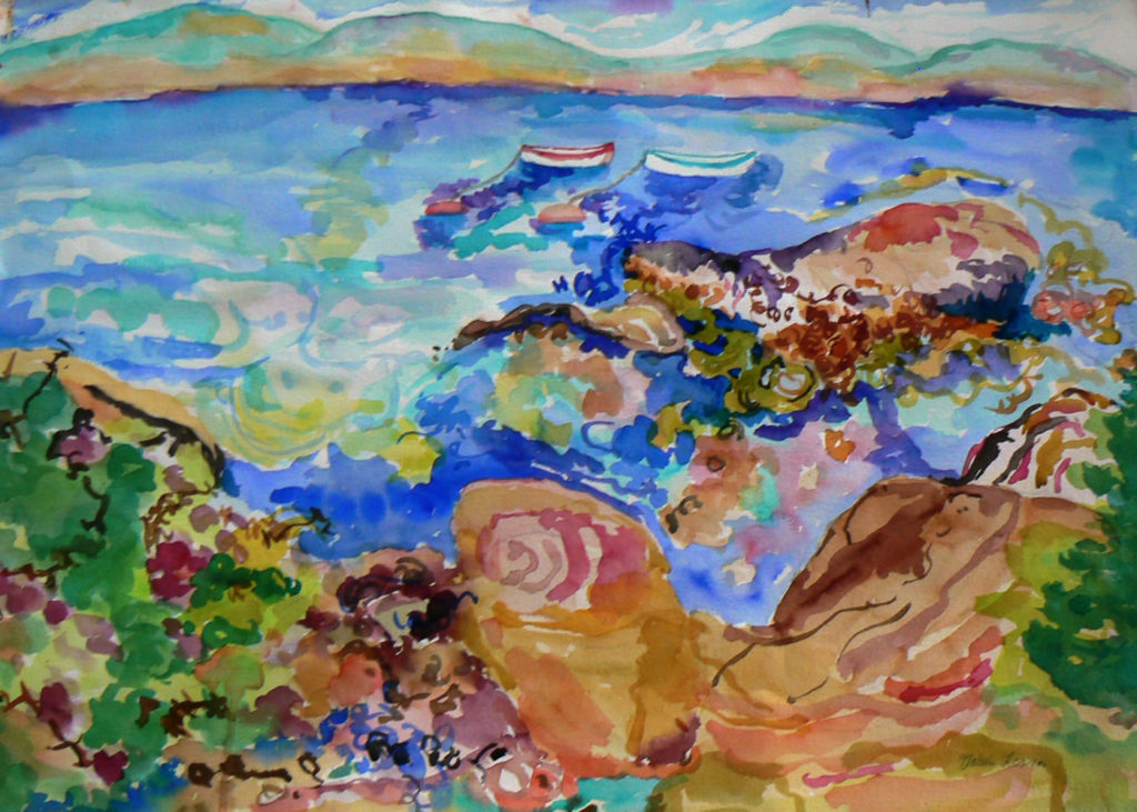 """Bakers Island Looking at Cranberry Island <br /> 30"""" x 22""""  <br /> Watercolor <br /> $495 <br /> <a href=""""/contact-purchase/?paintid=Bakers Island"""">Purchase</a>"""