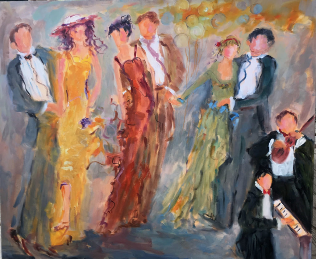 "Ballroom Music <br /> 36"" x 36""  <br /> Mixed Media on Canvas, Gallery Wrapped<br /> $2,300 <br /> <a href=""/contact-purchase/?paintid=Ballroom Music"">Purchase</a>"