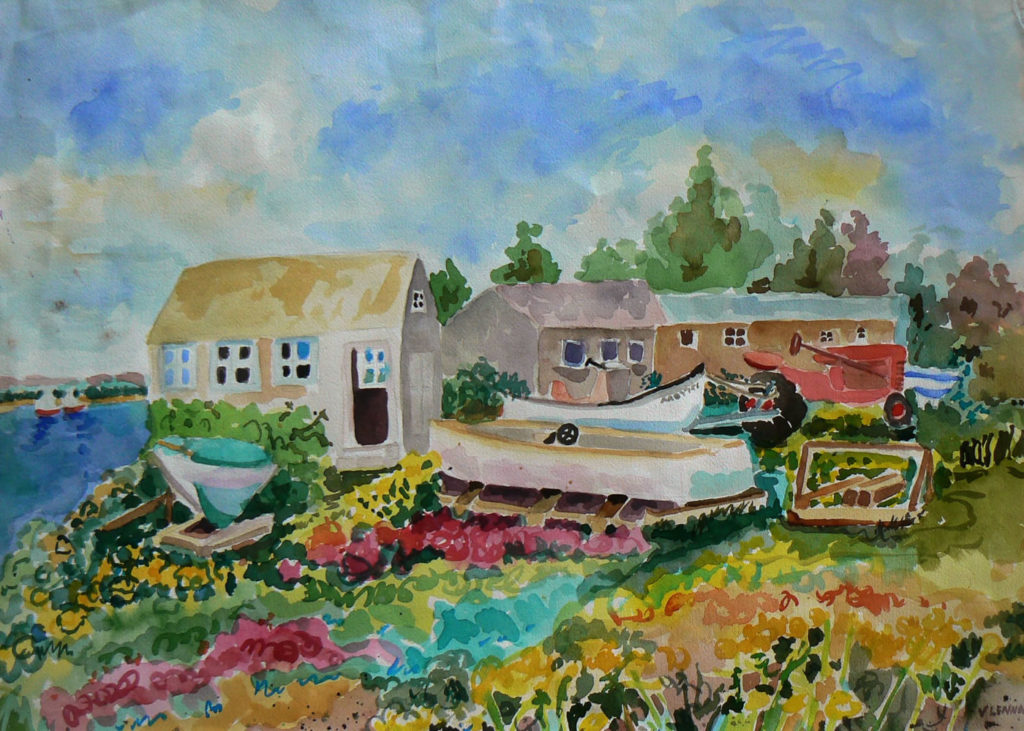 """Boat Yard <br /> 30"""" x 22""""  <br /> Watercolor <br /> $495 <br /> <a href=""""/contact-purchase/?paintid=Boat Yard"""">Purchase</a>"""