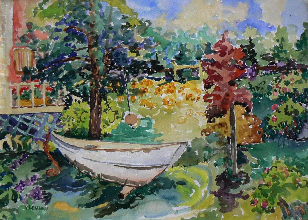 """Boat in My Yard <br /> 30"""" x 22""""  <br /> Watercolor <br /> $495 <br /> <a href=""""/contact-purchase/?paintid=Boat in my Yard"""">Purchase</a>"""
