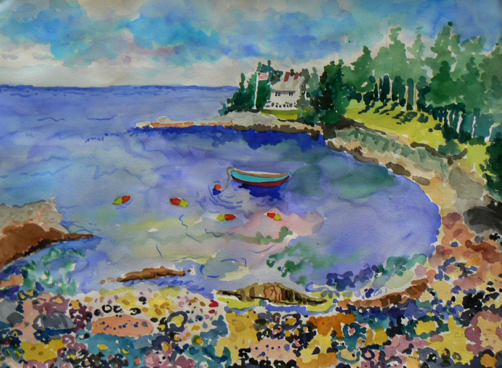 """Bunker Cove View <br /> 30"""" x 22""""  <br /> Watercolor <br /> $495 <br /> <a href=""""/contact-purchase/?paintid=Bunker Cove View"""">Purchase</a>"""