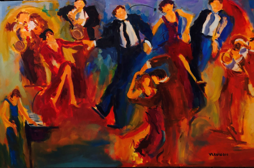 "Dance Hall Jive <br /> 48"" x 30""  <br /> Mixed Media on Canvas, Gallery Wrapped<br /> $2,600 <br /> <a href=""/contact-purchase/?paintid=Dance Hall Jive"">Purchase</a>"