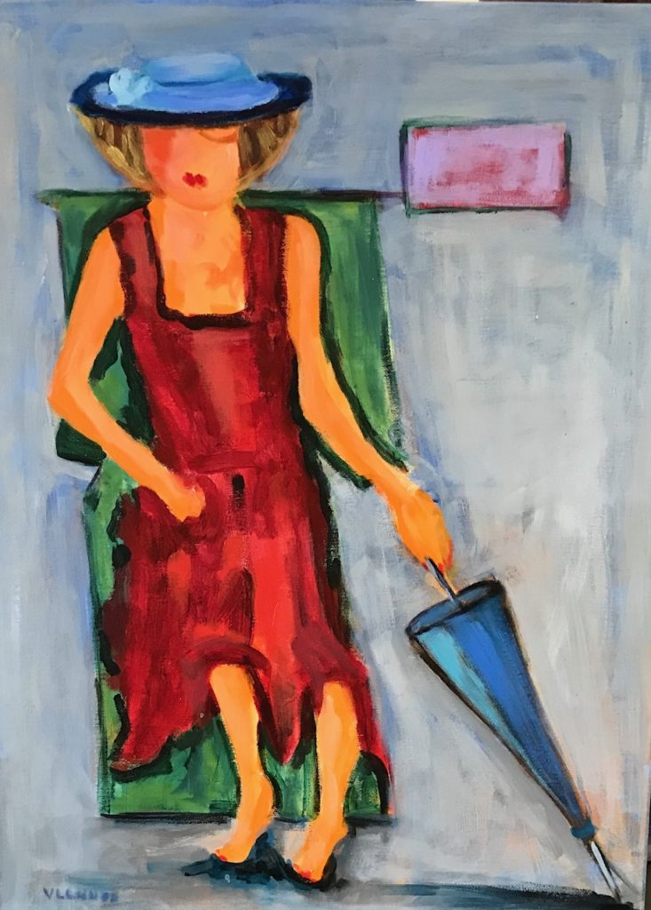 "Isabell waiting for the Rain<br /> 18"" x 24""  <br /> Oil on Canvas, Gallery Wrapped <br /> $900 <br /> <a"