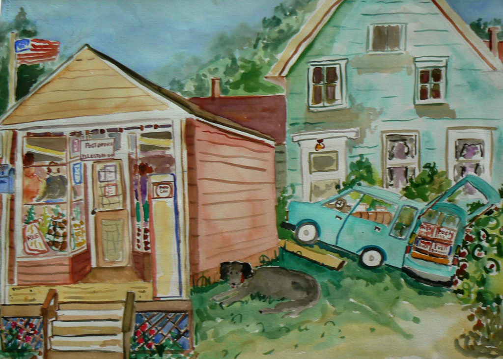 """Islesford Grocery Store <br /> 30"""" x 22""""  <br /> Watercolor <br /> $495 <br /> <a href=""""/contact-purchase/?paintid=Islesford Grocery Store"""">Purchase</a>"""