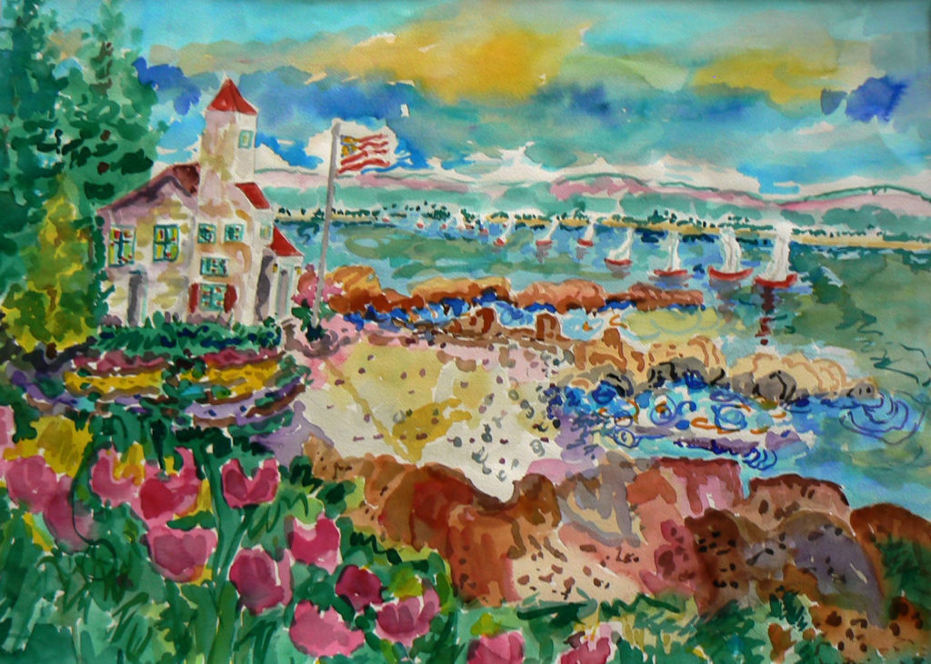 """Lighthouse and Sailing Regatta <br /> 30"""" x 22""""  <br /> Watercolor <br /> $495 <br /> <a href=""""/contact-purchase/?paintid=Lighthouse and Sailing Regatta"""">Purchase</a>"""