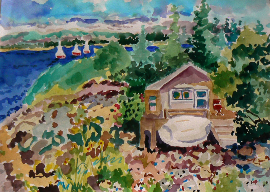 """Looking at Sutton Island <br /> 30"""" x 22""""  <br /> Watercolor <br /> $495 <br /> <a href=""""/contact-purchase/?paintid=Looking at Sutton Island"""">Purchase</a>"""