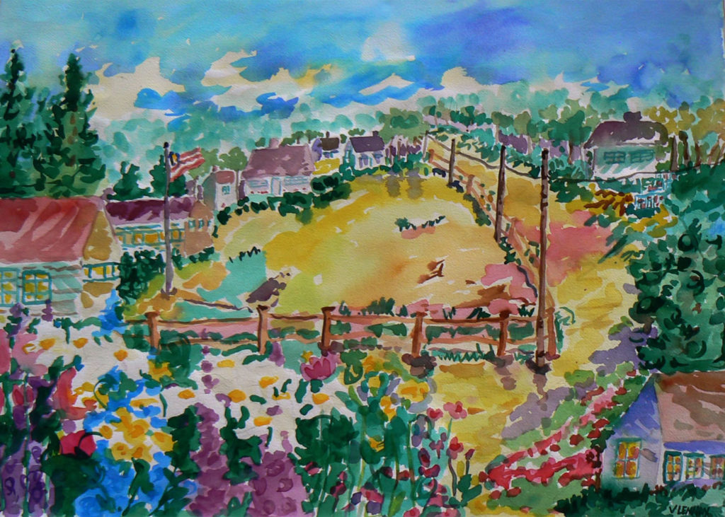 """Path to Edie's House <br /> 30"""" x 22""""  <br /> Watercolor <br /> $495 <br /> <a href=""""/contact-purchase/?paintid=Path to Edie's House"""">Purchase</a>"""