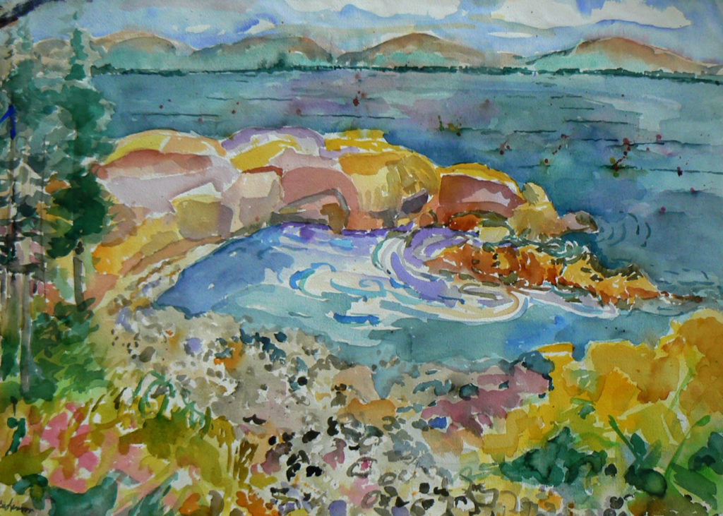 """Pebble Cove <br /> 30"""" x 22""""  <br /> Watercolor <br /> $495 <br /> <a href=""""/contact-purchase/?paintid=Pebble Cove"""">Purchase</a>"""