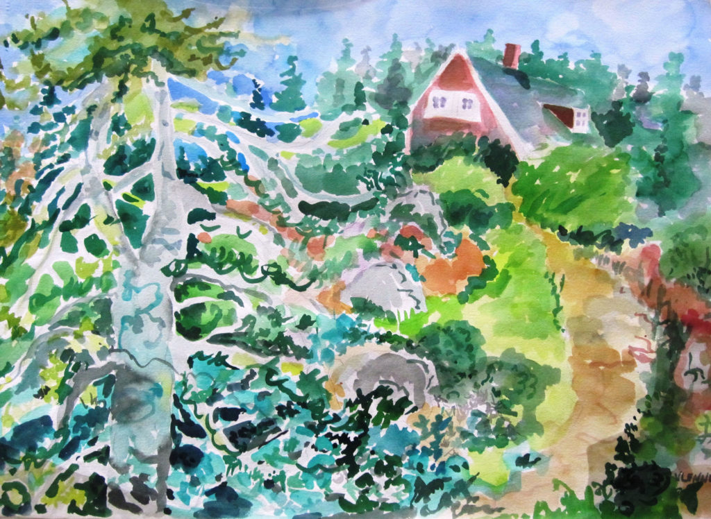 """Summer Home <br /> 30"""" x 22""""  <br /> Watercolor <br /> $495 <br /> <a href=""""/contact-purchase/?paintid=Summer Home"""">Purchase</a>"""