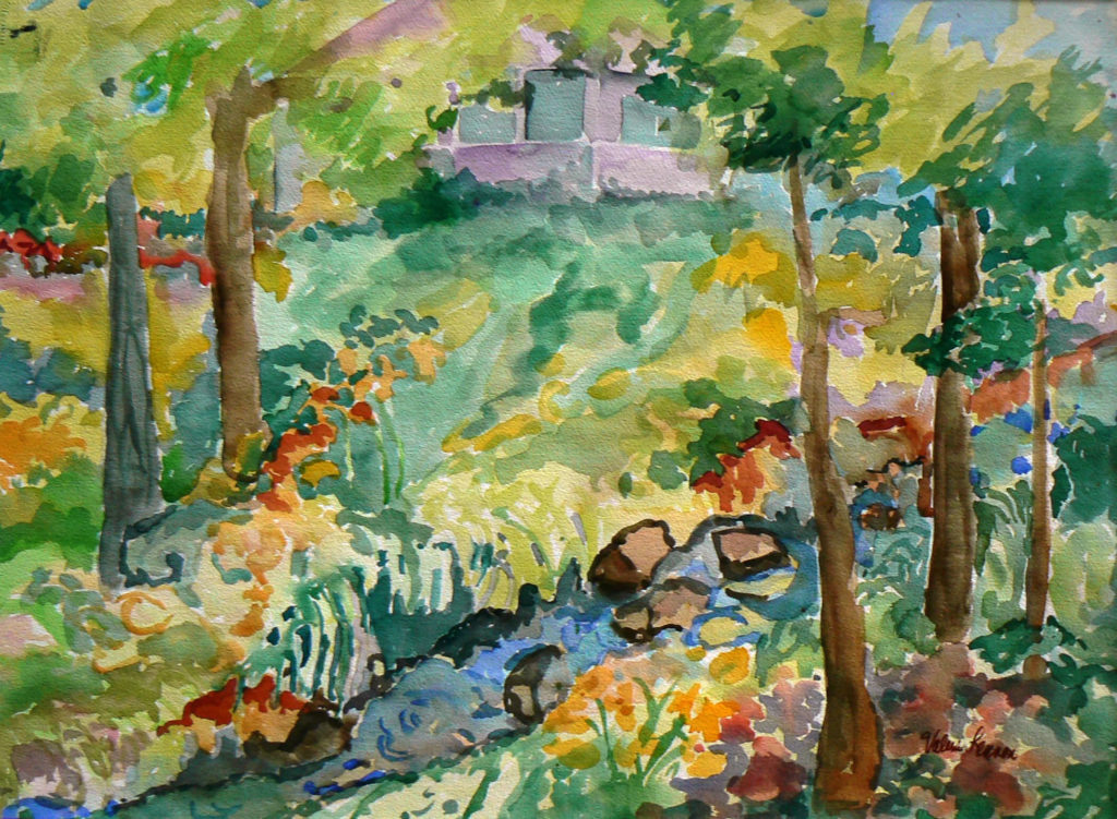 """View from Edie's Pond <br /> 30"""" x 22""""  <br /> Watercolor <br /> $495 <br /> <a href=""""/contact-purchase/?paintid=View from Edie's Pond"""">Purchase</a>"""