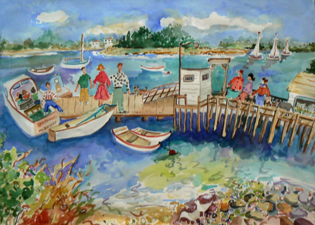 """Visiting Little Cranberry Island <br /> 30"""" x 22""""  <br /> Watercolor <br /> $495 <br /> <a href=""""/contact-purchase/?paintid=Visiting Little Cranberry Island"""">Purchase</a>"""