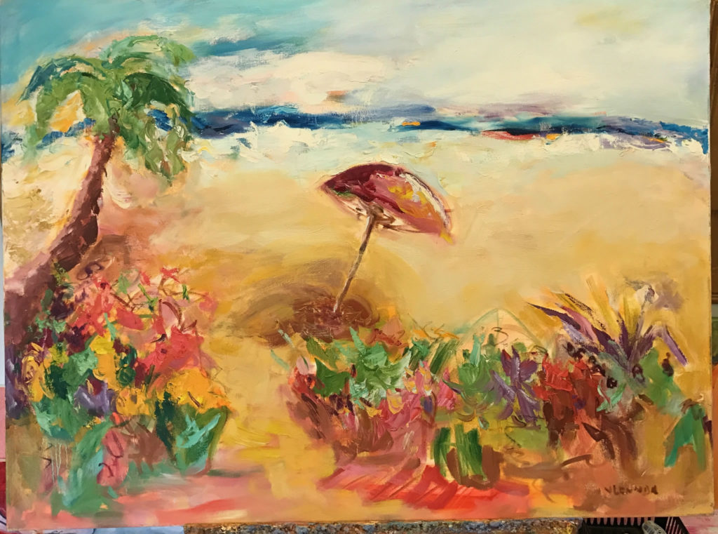"""Beach Umbrella <br /> 40"""" x 30""""  <br /> Mixed Media on Canvas, Gallery Wrapped <br /> $2,900 <br /> <a href=""""/contact-purchase/?paintid=Beach Umbrella"""">Purchase</a>"""
