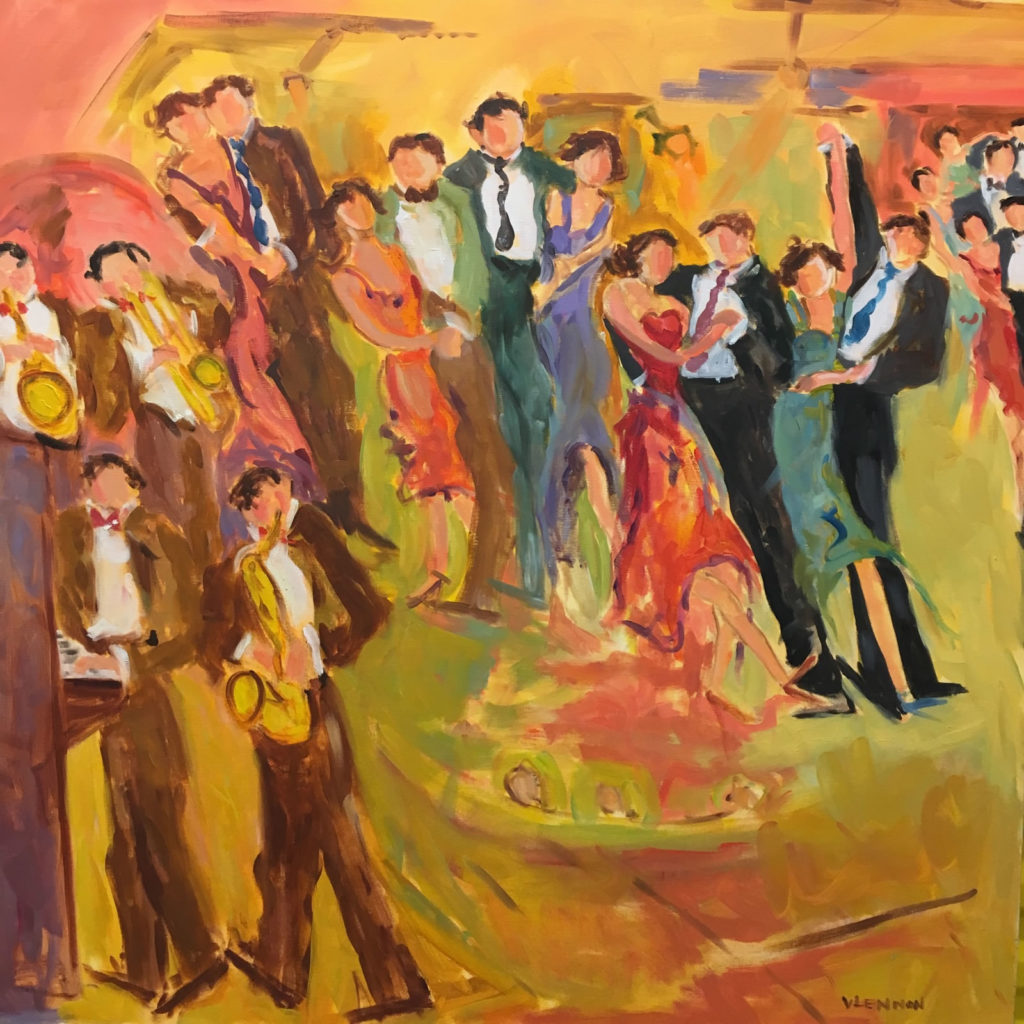 "Dancing at the Joint <br /> 40""x 40""  <br /> Mixed Media on Canvas, Gallery Wrapped <br /> $2,400 <br /> <a href=""/contact-purchase/?paintid=Dancing at the Joint"">Purchase</a>"