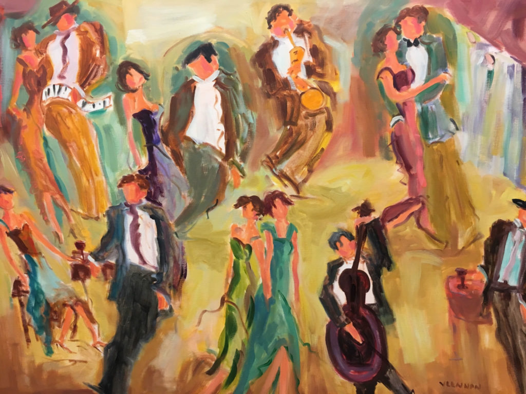 "Friday Night Dance Hall <br /> 48"" x 36""  <br /> Mixed Media on Canvas, Gallery Wrapped <br /> $3,100 <br /> <a href=""/contact-purchase/?paintid=Friday Night Dance Hall"">Purchase</a>"