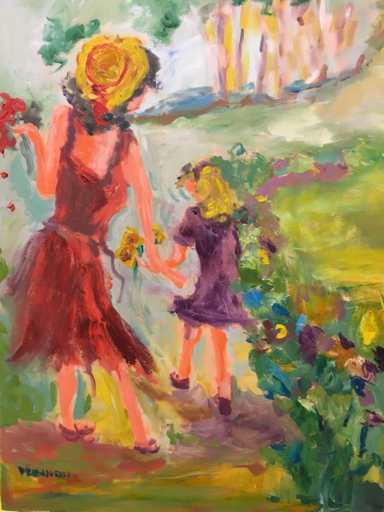 "Gathering Flowers <br /> 24"" x 30""  <br /> Mixed Media on Canvas, Gallery Wrapped <br /> $1,600 <br /> <a href=""/contact-purchase/?paintid=Gathering Flowers"">Purchase</a>"