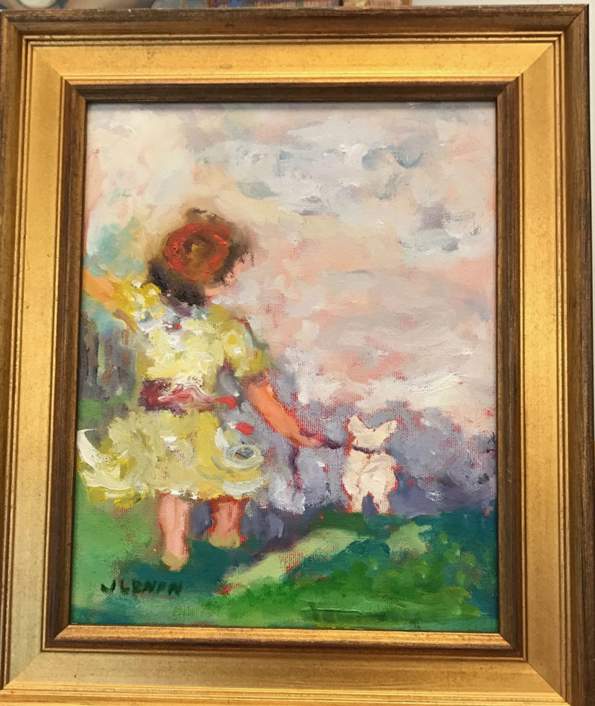 "Girl with Dog <br /> 8"" x 10""  <br /> Mixed Media on Canvas, Framed <br /> $400 <br /> <a href=""/contact-purchase/?paintid=Girl with Dog"">Purchase</a>"