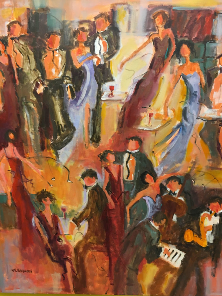 "Manhattan Social <br /> 36""x 48""  <br /> Mixed Media on Canvas, Gallery Wrapped <br /> $3,200 <br /> <a href=""/contact-purchase/?paintid=Manhattan Social"">Purchase</a>"
