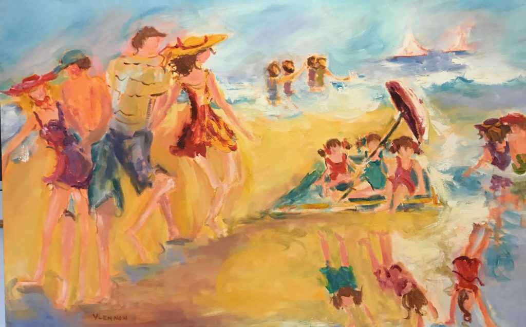 "Playing at the Beach <br /> 48"" x 30""  <br /> Mixed Media on Canvas, Gallery Wrapped <br /> $2,400 <br /> <a href=""/contact-purchase/?paintid=Playing at the Beach"">Purchase</a>"