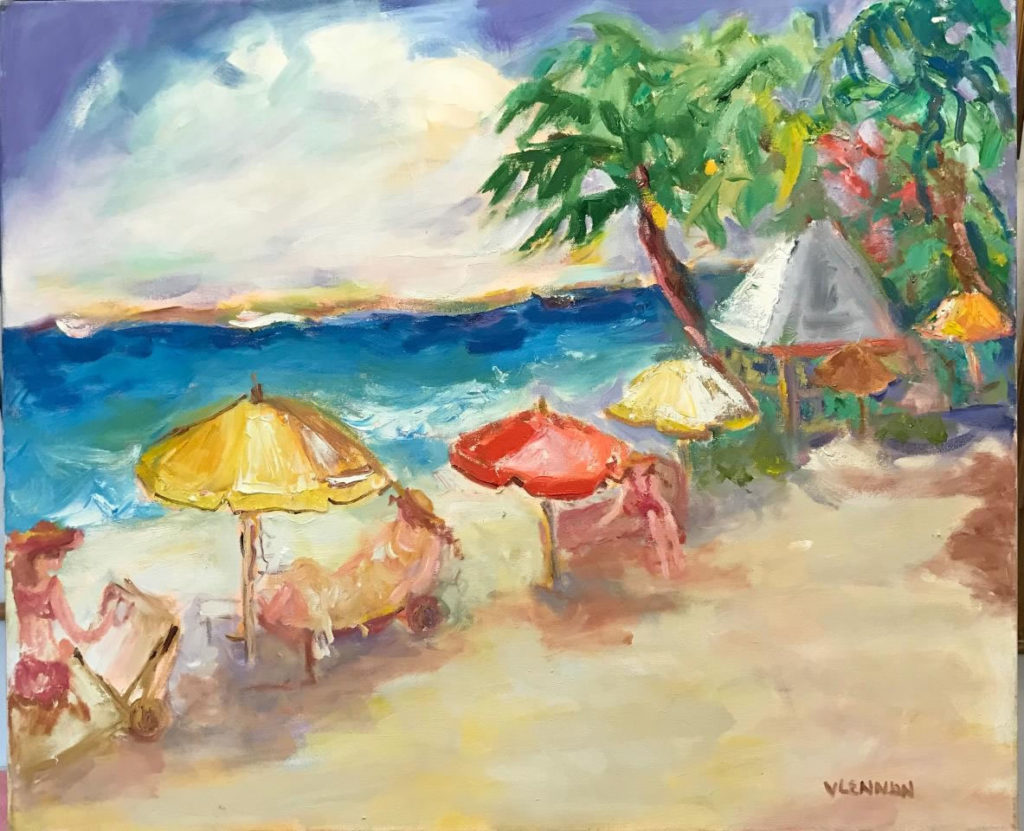 """Red Beach Umbrella <br /> 36"""" x 30""""  <br /> Mixed Media on Canvas, Gallery Wrapped <br /> $1,800 <br /> <a href=""""/contact-purchase/?paintid=Red Beach Umbrella"""">Purchase</a>"""