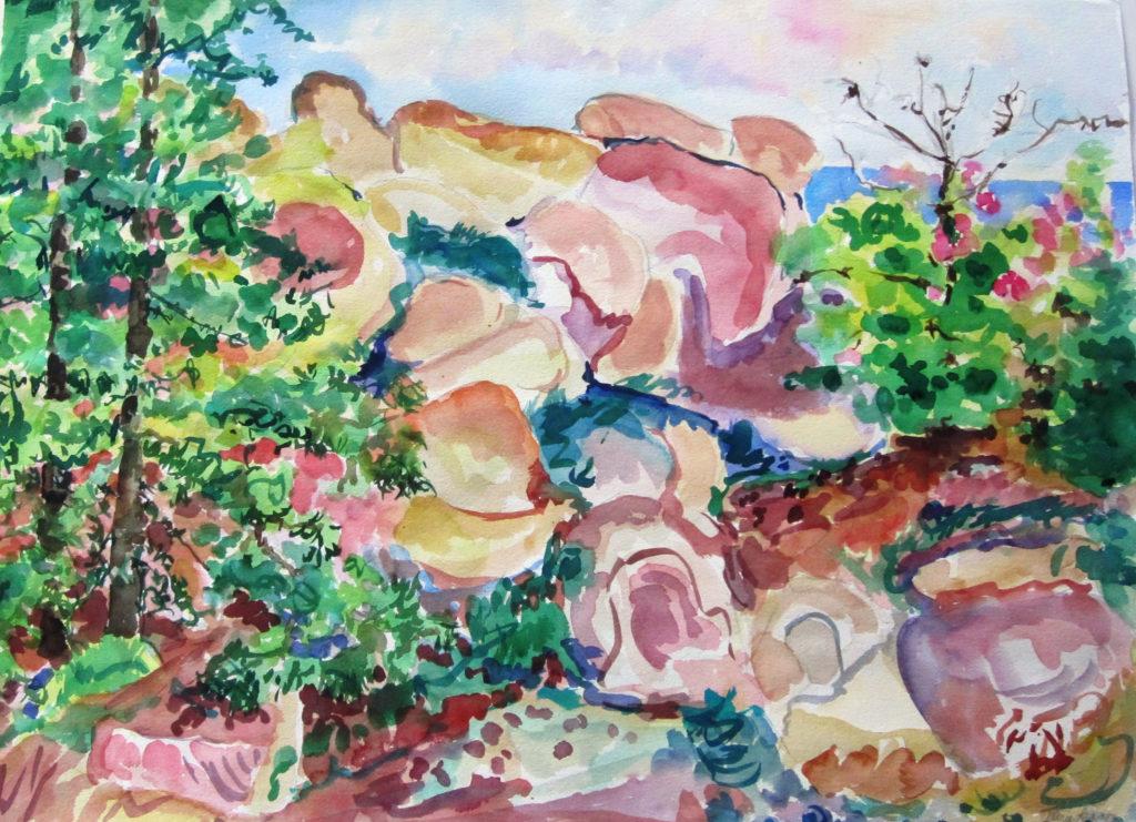 "Rocky Island <br /> 30"" x 22""  <br /> Watercolor <br /> $495 <br /> <a href=""/contact-purchase/?paintid=Rocky Island"">Purchase</a>"