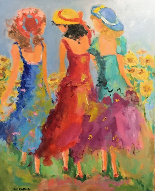 "Girls in Sunflowers<br /> 36"" x 24""  <br /> Oil on Canvas, Gallery Wrapped<br /> $1,100<br /> <a href=""/contact-purchase/?paintid=""Girl in the Sunflowers"">Purchase</a>"