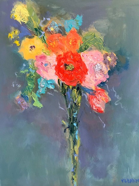 """Bouquet <br /> 20"""" x 16""""  <br /> Mixed Media on Canvas, Gallery Wrapped<br /> $1,800 <br /> <a href=""""/contact-purchase/?paintid=Bouquet"""">Purchase</a>"""